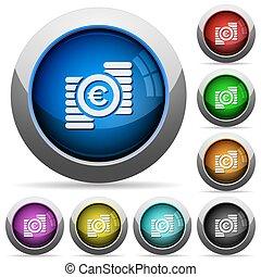 Euro coins button set