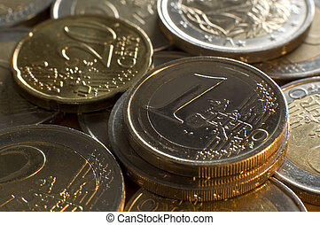 euro coins close up shoot with side lighting