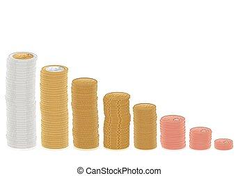 euro coins diagram - Euro coins stacks on a white...