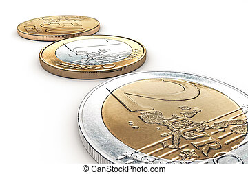 euro coins - euro coin siolated on white backgroun 3d...