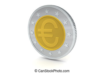 Euro Coins - Euro symbol coins isolated on white background