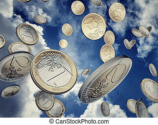 euro coins falling from sky