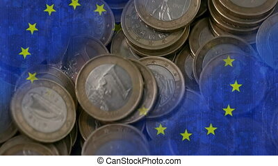 Euro coins falling Video
