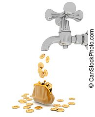 EURO coins flows from tap