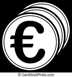 Euro coins icon - Euro coins. Glyph style is flat, white...