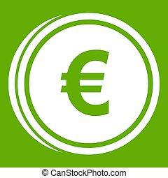 Euro coins icon green - Euro coins icon white isolated on...