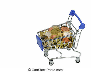 euro coins in shopping cart isolated on white background with copy space