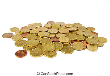 Euro coins isolated on white background.