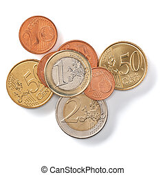 Euro coins isolated on white background closeup