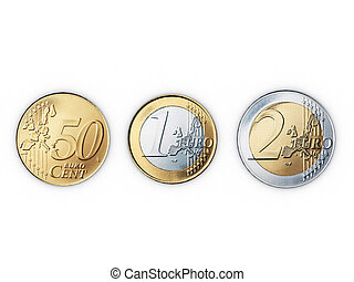 euro coins isolated on white vackground