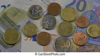Euro coins money (EUR), currency of European Union.