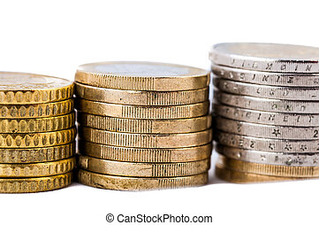 Euro Coins on a white background - Euro Coins closeup on a...