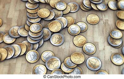 euro coins on wooden parquet