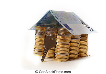 Euro Coins pile House with banknote roof and key