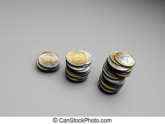 Euro Coins - Row of euro coins stacked up like business...