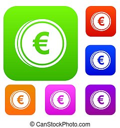 Euro coins set collection - Euro coins set icon in different...