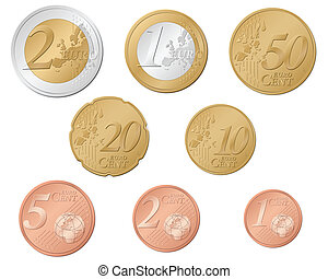 Euro coins set isolated on a white background. Vector illustration.