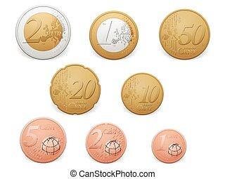 Euro coins set on a white background.