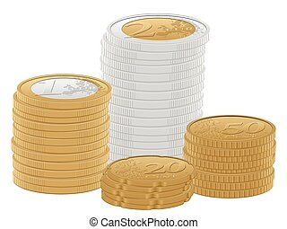 euro coins stack - Euro coins stacks on a white background....