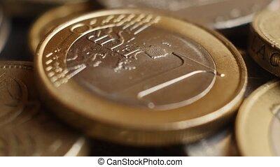 Euro coins super close-up. - Spining Euro coins super...