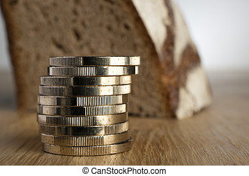 Euro coins with bread