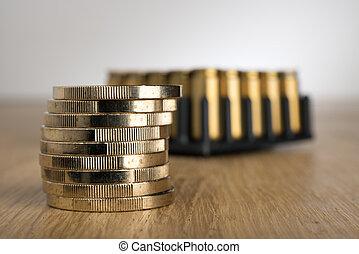 Euro Coins with gun cartridges