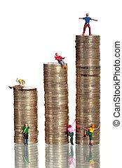 Euro coins with miniature climber