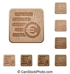 Euro coins wooden buttons