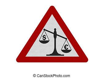 euro', contre, réaliste, isolé, signe, 'dollar, photo, blanc