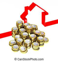 euro, contro, e, 3d, casa