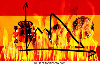 euro crisis - A Spain flag with a graph of economic...