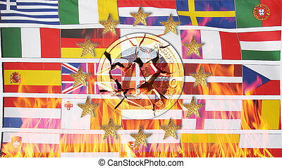 European flags with 12 stars and a broken Euro coin in flames