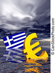 Euro crisis - Ill euro symbol and greek flag drowning in the...