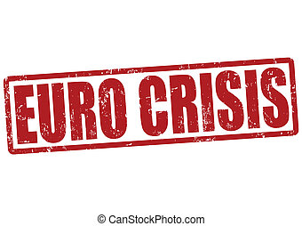 Euro crisis stamp - Euro crisis grunge rubber stamp on white...