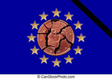 euro crisis - European flags with 12 stars, a Euro coin and...