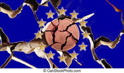 euro crisis - European flags with 12 stars and a Euro coin