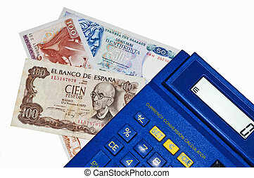 Euro-crisis,calculator with Peseta and Drachm banknotes