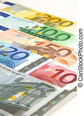 euro currency - 5, 20, 10, 50, 100, 200 euro bills