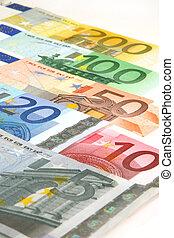 euro currency - 5, 20, 10, 50, 100, 200 euro bills