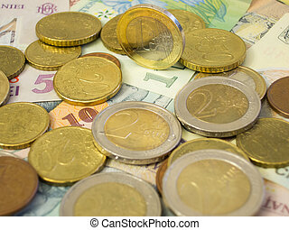 Bunch of euros on top of bunch of leu papers