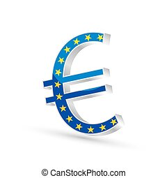 Euro currency gold symbol icon with flag of European Union,...