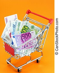 Euro currency in shopping trolley