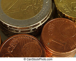 Packs of euro currency coins