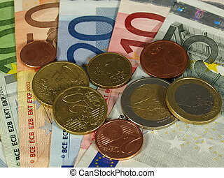 Set of EURO currency, notes and coins