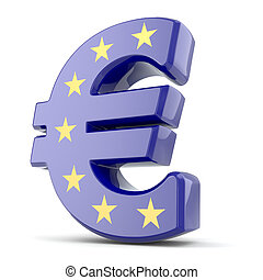 Euro currency sign and Europe Union flag. 3d