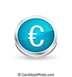 Euro currency symbol icon, button
