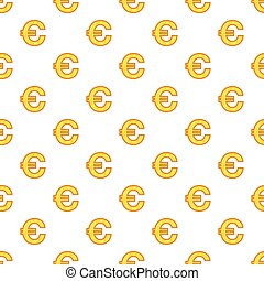 Euro currency symbol pattern, cartoon style