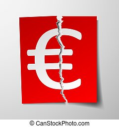 Euro currency symbol. Torn sheet of paper. Stock vector illustration.