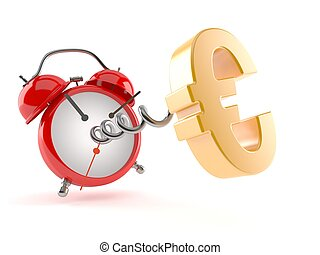 Euro currency symbol with alarm clock