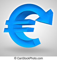 Euro Decline - Euro symbol merged with downward arrow. 3D...